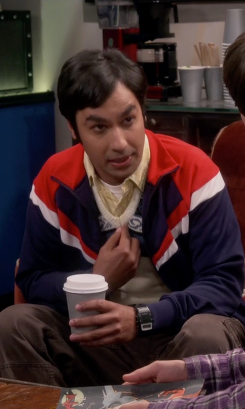 Kunal Nayyar with Adidas Originals Trefoil FC Track Jacket-Collegiate in The Big Bang Theory