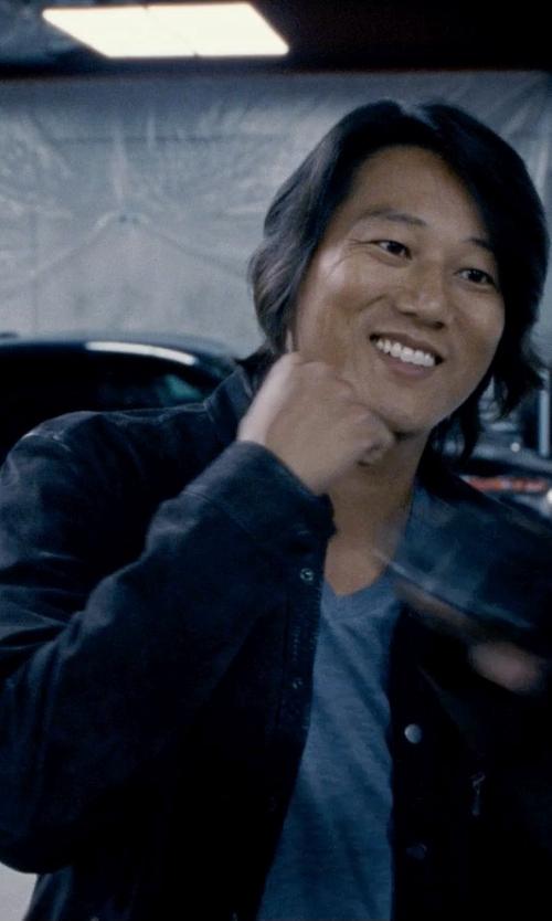 Sung Kang with ASOS T-Shirt With V Neck And Roll Sleeve in Fast & Furious 6