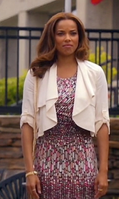 Rochelle Aytes with Bobi Knit Boucle Long Sleeve Front Draped Blazer in Mistresses
