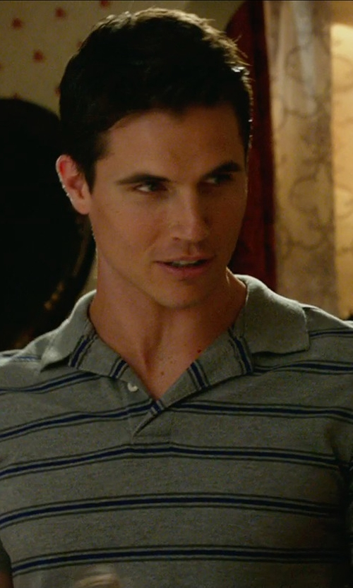 Robbie Amell with Polo Ralph Lauren Men's Custom Fit Striped Polo Shirt in The DUFF