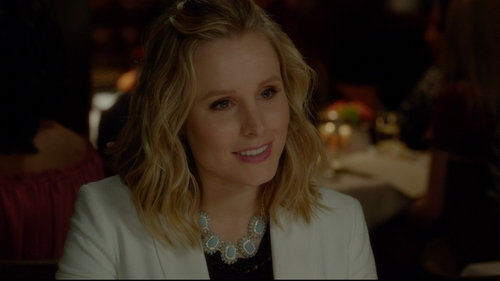 Kristen Bell with Monet Jewelry Stone and Crystal Statement Necklace in The Boss