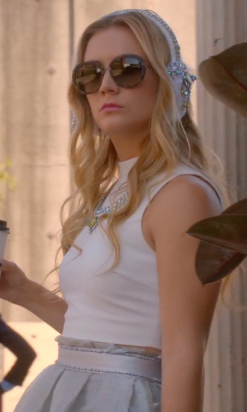 Billie Lourd with Yufash Silver Embellished Belt Skirt in Scream Queens