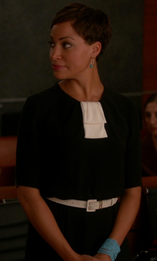Cush Jumbo with Jason Wu Collar & Bib Knit Dress in The Good Wife