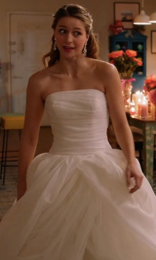 Melissa Benoist with White by Vera Wang Textured Organza Wedding Dress in Supergirl