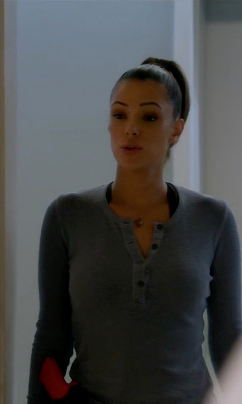 Anabelle Acosta with Columbia Weekday Waffle Thermal Henley Top in Quantico