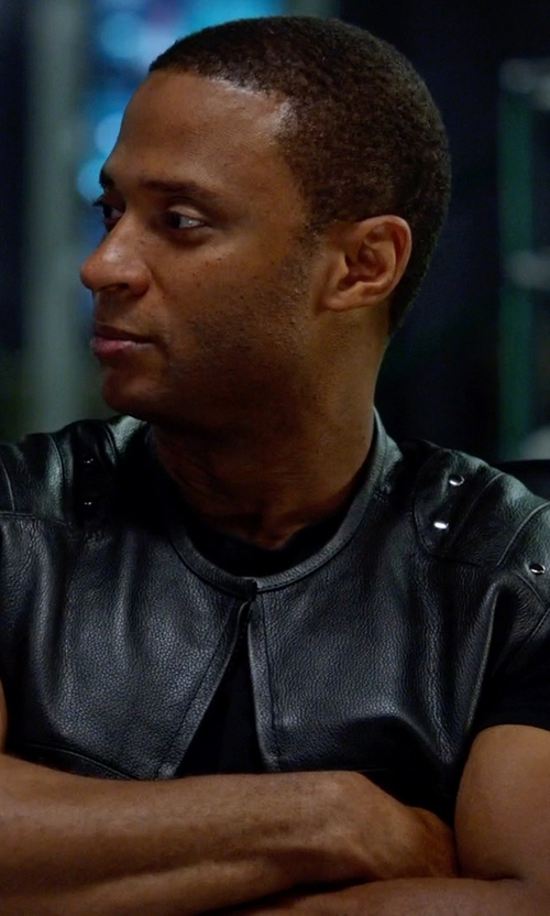 David Ramsey with Prime American Leather Products Special OPS Men Black Vest in Arrow