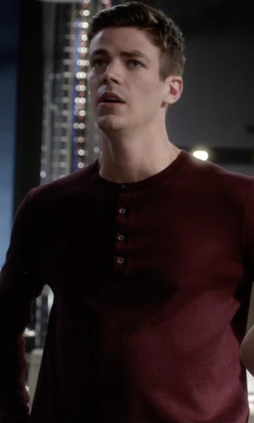 Grant Gustin with 7 For All Mankind Thermal Henley T-Shirt in The Flash