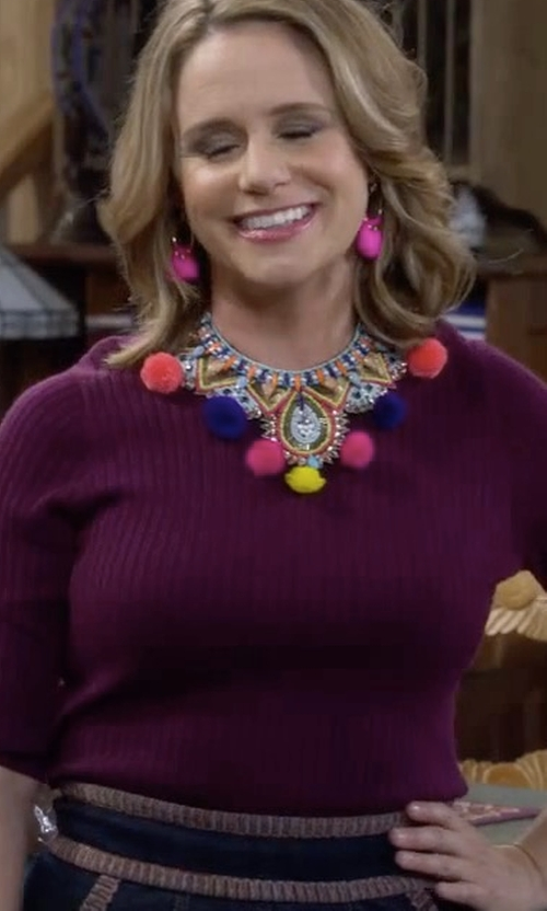 Andrea Barber with Eileen Fisher Lightweight Bateau-Neck Top in Fuller House