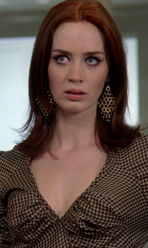 Emily Blunt with Lagos Sterling Silver Floral Chandelier Earrings in The Devil Wears Prada