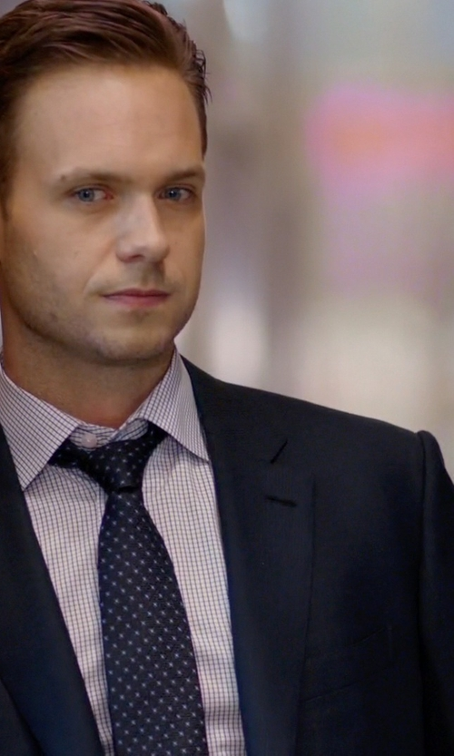 Patrick J. Adams with Tom Ford Windowpane-Pattern Silk Dress Shirt in Suits