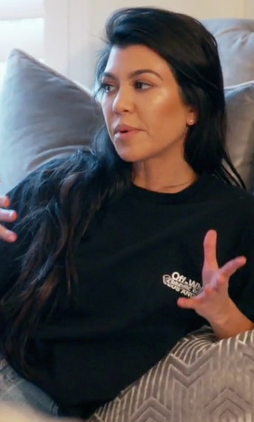 Kourtney Kardashian with Off-White x Chrome Hearts Los Angeles T-Shirt in Keeping Up With The Kardashians