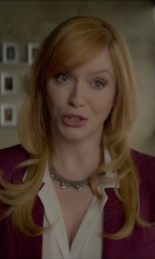 Christina Hendricks with Nina 'Mulberry' Rhodium-Plated Delicate Crystal Necklace in The Neon Demon