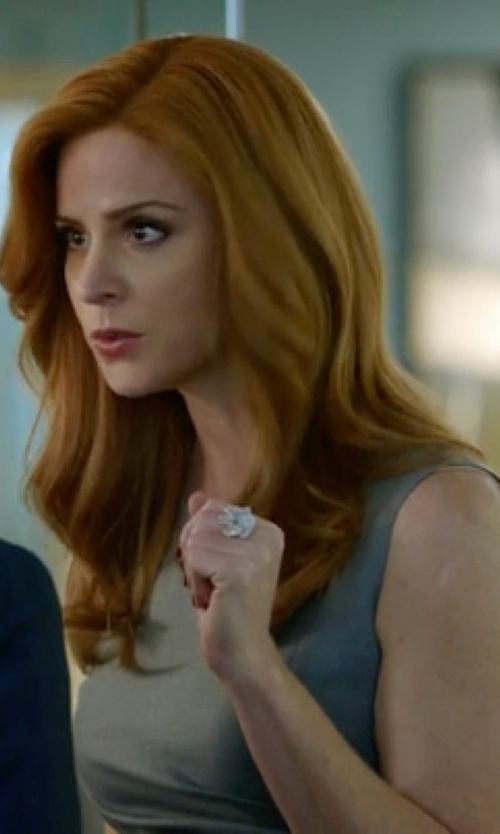 Sarah Rafferty with Lord & Taylor Rose Quartz And Diamond-Accented Ring in Suits