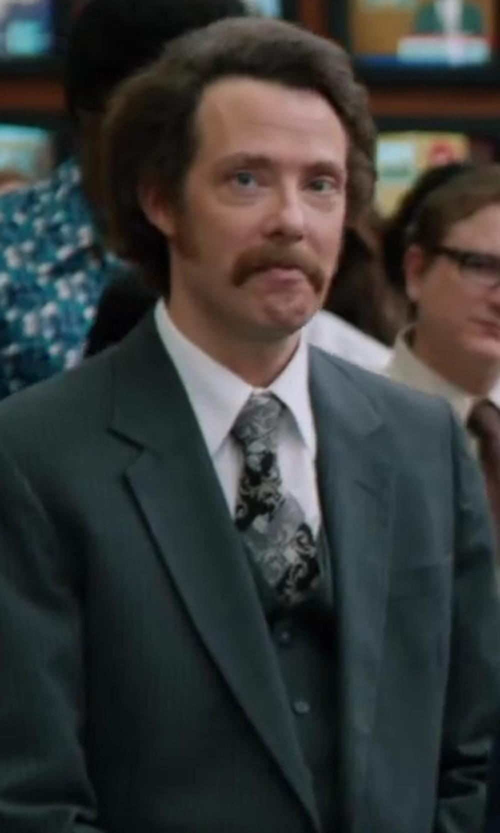 Patrick J. Williams with Emilio Pucci Vintage Patterned Tie in Anchorman 2: The Legend Continues