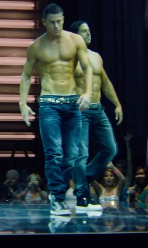 Channing Tatum with Armani Jeans Medium Wash Anti-Fit Jeans in Magic Mike XXL