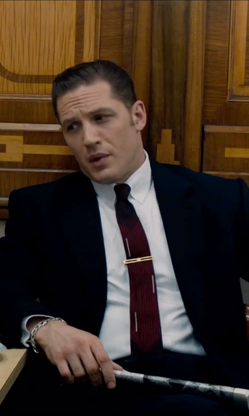 Tom Hardy with Armani Collezioni Solid Necktie in Legend