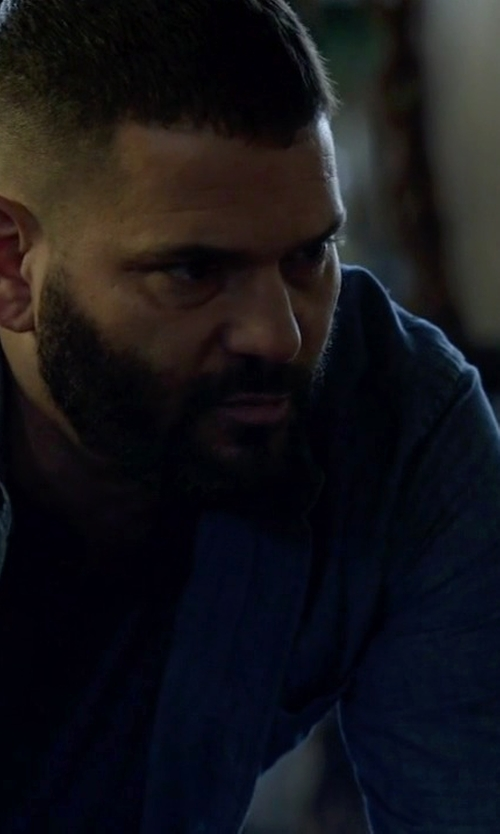 Guillermo Díaz with Brioni Button-Down Collar Cotton-Chambray Shirt in Scandal