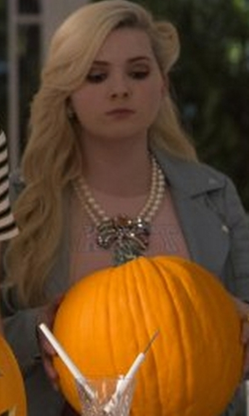 Abigail Breslin with Levi's Shrunken Moto Jacket in Scream Queens