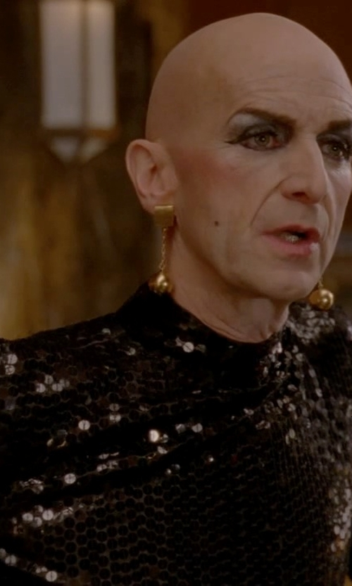 Denis O'Hare with Badgley Mischka Stretch Sequin Blouson Cocktail Dress in American Horror Story