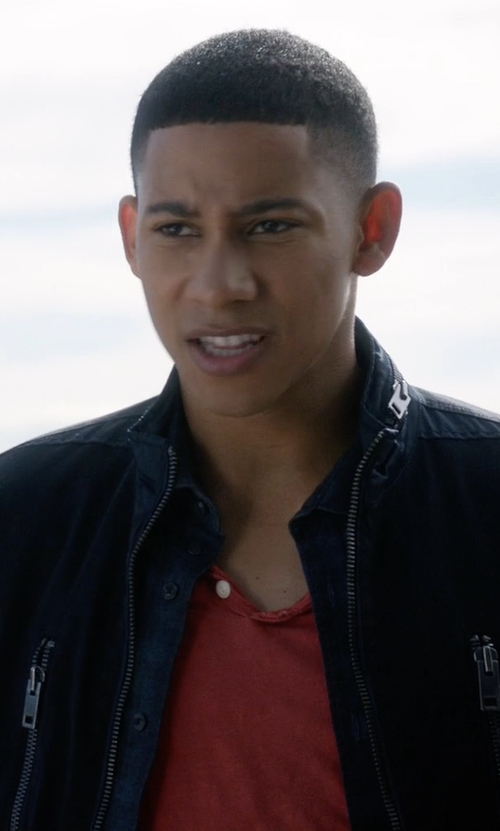 Keiynan Lonsdale with Diesel Dual Fabric High Neck Zipped Jacket in The Flash
