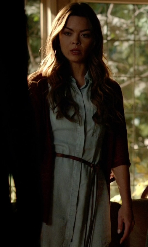 Scarlett Byrne with Rails 'Elizabeth' Chambray Tunic Dress in The Vampire Diaries