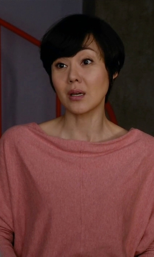 Yunjin Kim with All Saints Elgar Cowl Neck Sweater in Mistresses