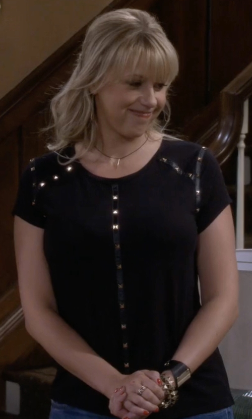 Jodie Sweetin with Joan Vass Studded Cotton T-Shirt in Fuller House