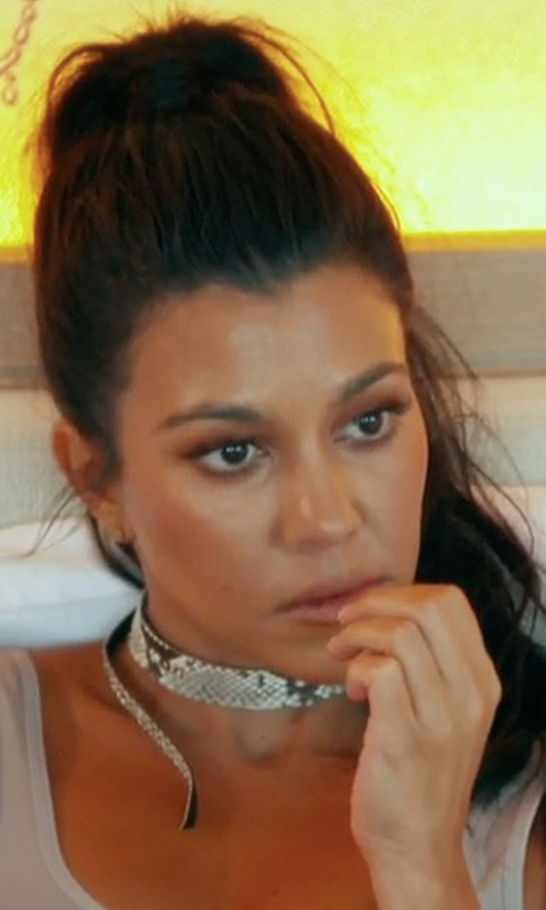 Kourtney Kardashian with Framework Bowtie Choker Natural Python in Keeping Up With The Kardashians