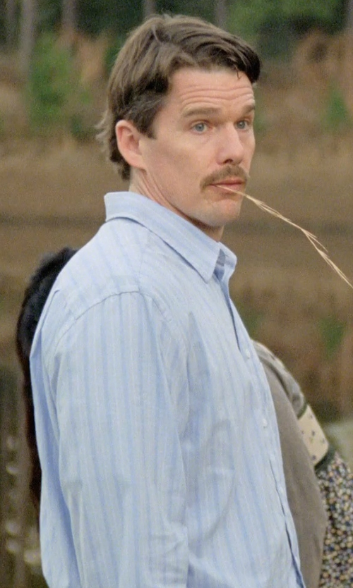 Ethan Hawke with Boss Hugo Boss 'Miles Us' Sharp Fit Stripe Dress Shirt in Boyhood
