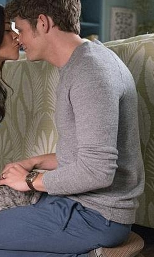 Brett Dier with Vince Long-Sleeve Waffle-Knit Sweater in Jane the Virgin