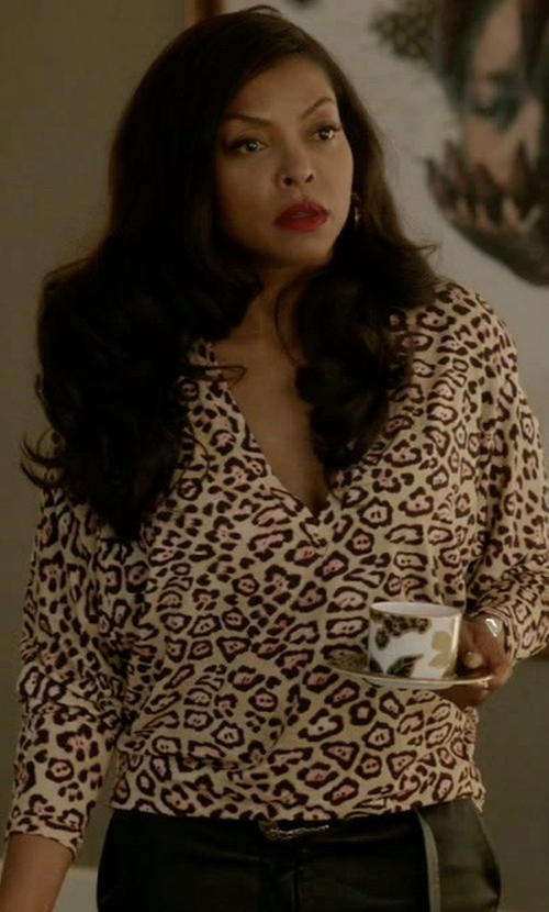 Taraji P. Henson with Givenchy Leopard Print Top in Empire