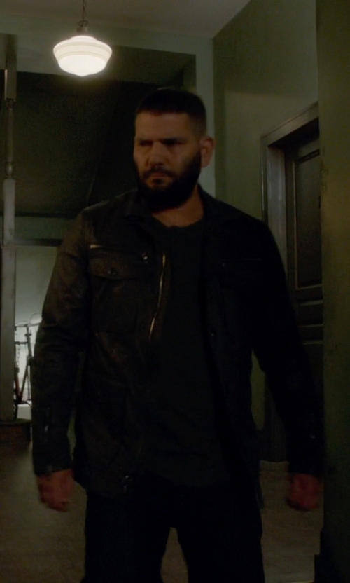 Guillermo Díaz with Ralph Lauren Southbury Leather Biker Jacket in Scandal