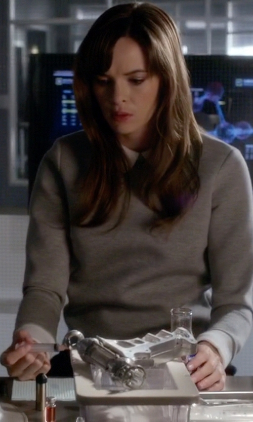 Danielle Panabaker with French Connection Mix It Layered Look Sweater in The Flash