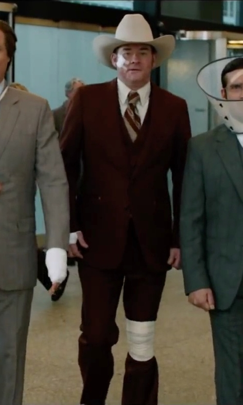 David Koechner with Jos. A. Bank Pinpoint Oxford Point Collar French Cuff Dress in Anchorman 2: The Legend Continues
