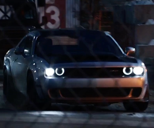 Vin Diesel with Dodge Challenger Muscle Car in The Fate of the Furious