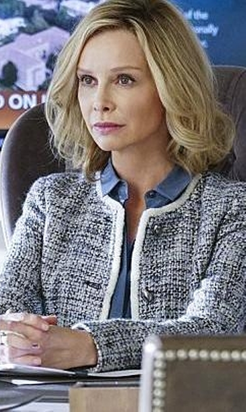 Calista Flockhart with St. John  San Pietro Tweed Jacket in Supergirl