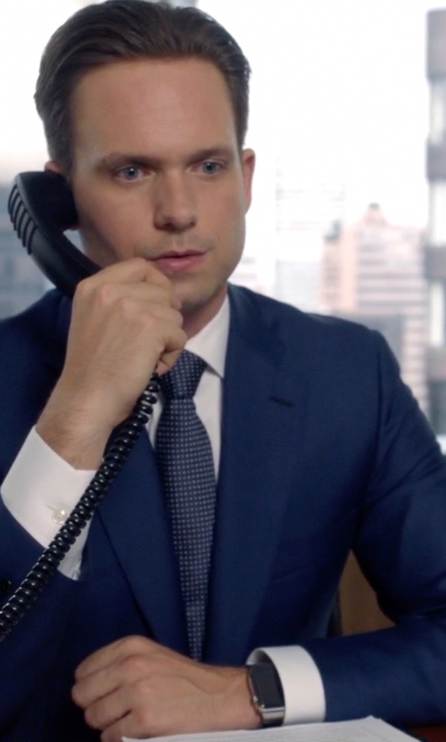 Patrick J. Adams with Charvet Solid Poplin-French Cuff Shirt in Suits