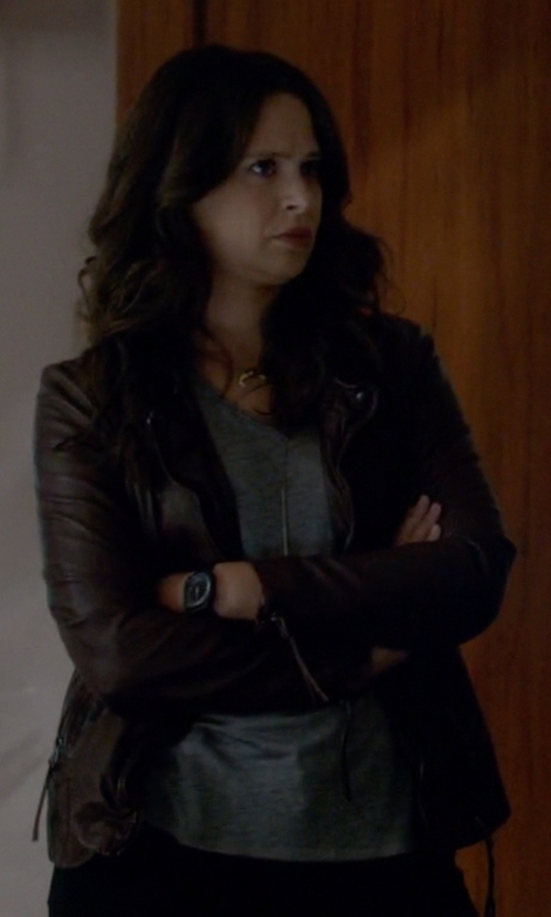 Katie Lowes with LaMarque Joanna Asymmetric Leather Jacket in Scandal