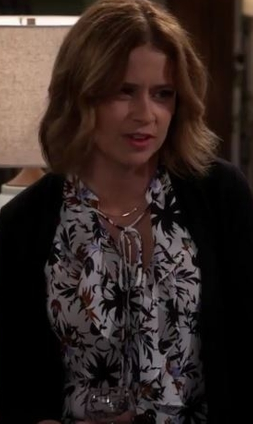 Jenna Fischer with A.L.C. Steele Tie Neck Print Blouse in Man With A Plan