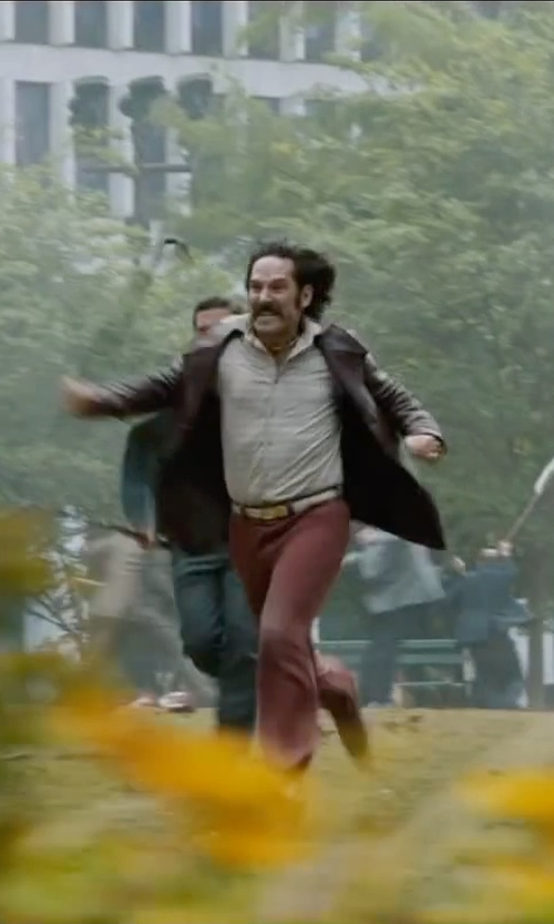 Paul Rudd with Perry Ellis Portfolio Big and Tall Smooth Leather Jacket in Anchorman 2: The Legend Continues