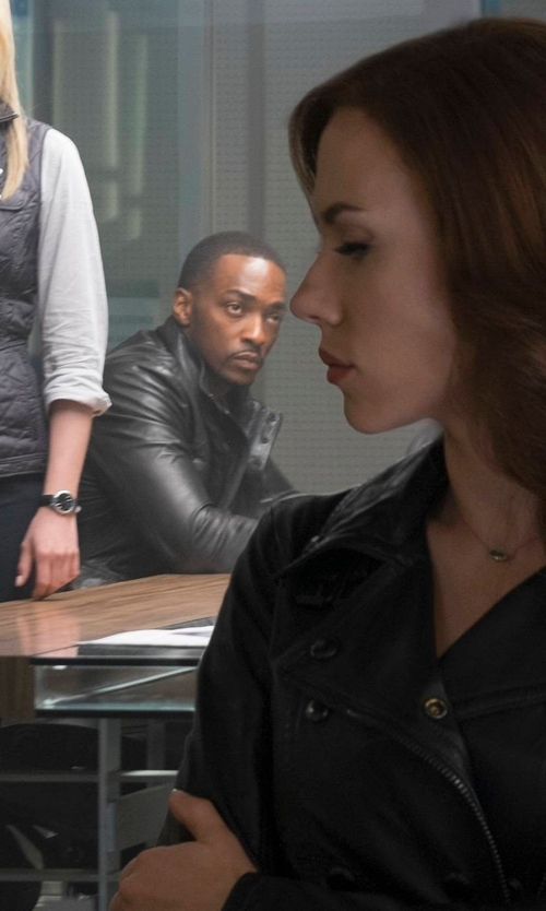 Anthony Mackie with Matchless Falcon Leather Jacket in Captain America: Civil War