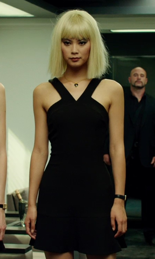 Wenxia Yu with Christopher Kane Crepe Cut-Out Dress in The Transporter: Refueled
