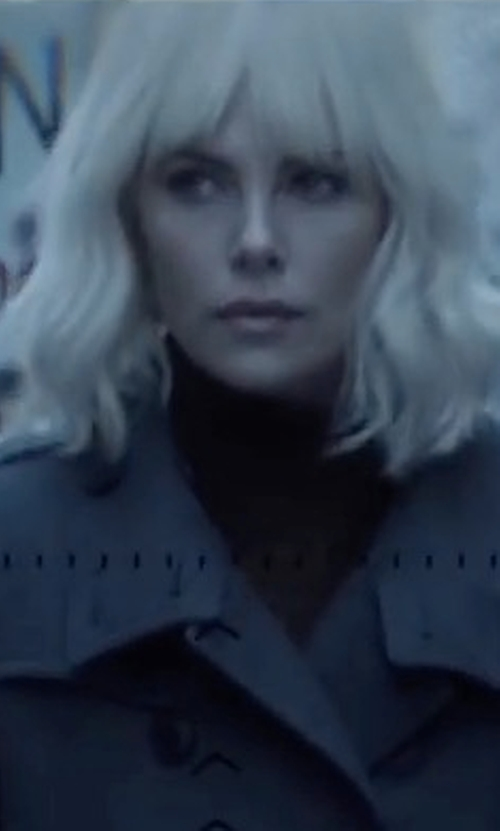 Charlize Theron with Neiman Marcus Cashmere Collection Modern Cashmere Turtleneck Sweater in Atomic Blonde