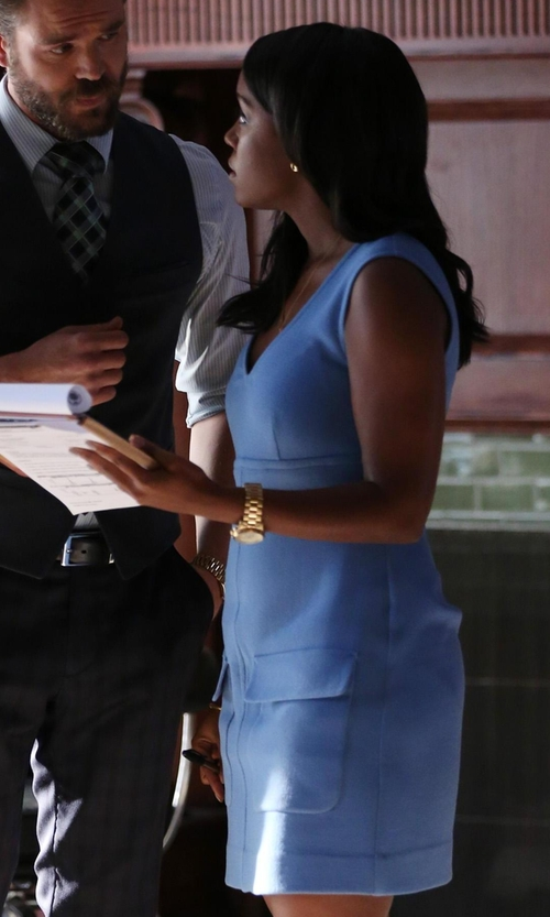 Aja Naomi King with P.A.R.O.S.H. Lakix Shift Dress in How To Get Away With Murder