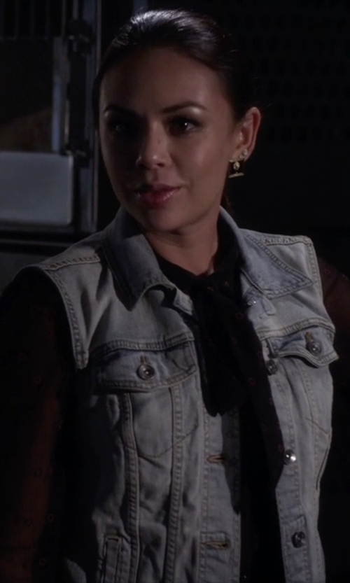 Janel Parrish with Boticca Black Druzy Studs Earrings in Pretty Little Liars