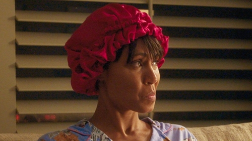 Jada Pinkett Smith with Uxcell Satin Hair Cap in Girls Trip