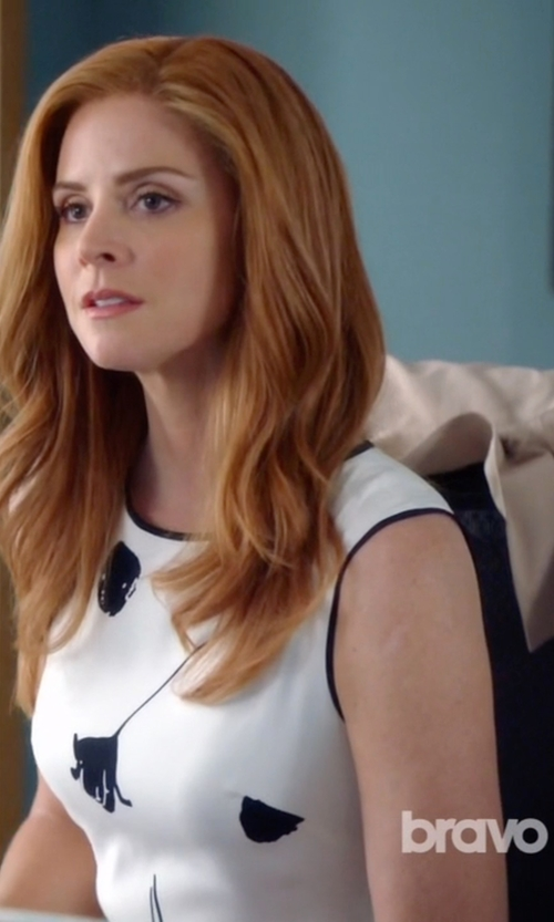 Sarah Rafferty with Lanvin Sculpted Trench Coat in Suits