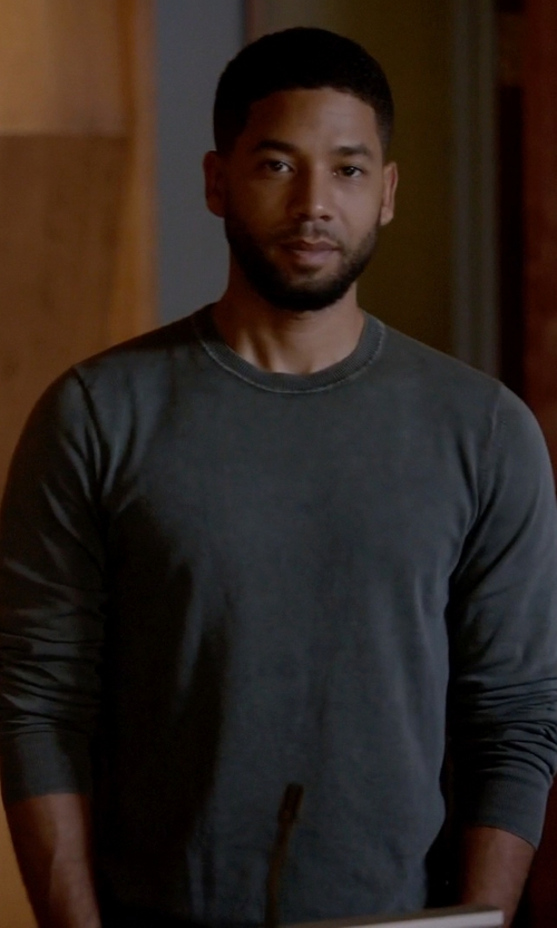 Jussie Smollett with Isaia Cashmere Crew Neck Sweater in Empire