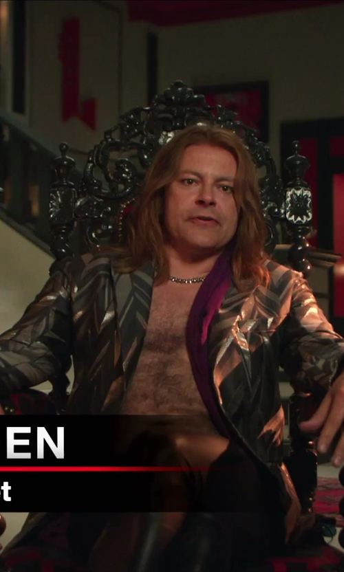Rob Corddry with Saint Laurent Black Faux Leather Jean Cut Pants in Hot Tub Time Machine 2