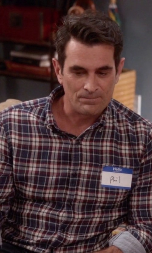 Ty Burrell with Velvet by Graham & Spencer 'Abel' Trim Fit Long Sleeve Plaid Sport Shirt in Modern Family